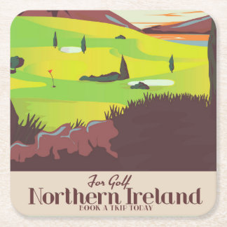 'For Golf' Northern Ireland Travel poster Square Paper Coaster