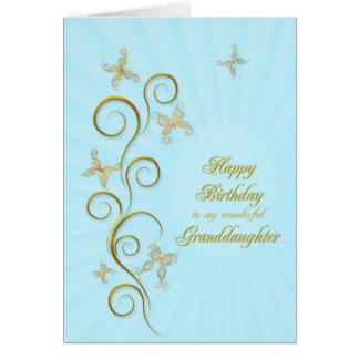 For granddaughter, Birthday golden butterflies Card