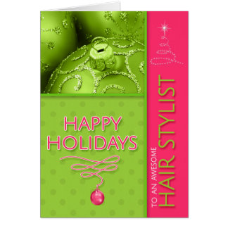 for Hair Stylist Christmas Hot Pink Lime Green Card