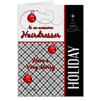 for Hairdresser | Red and Black Plaid | Holiday Card
