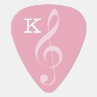 for her, a pink treble clef with initial guitar pick