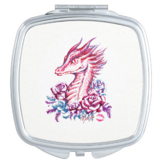 For Her: Lipstick Dragon Art Compact Makeup Mirror