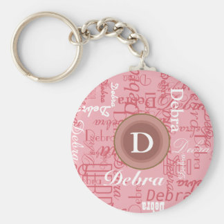 for her . personalized pink monogram basic round button keychain