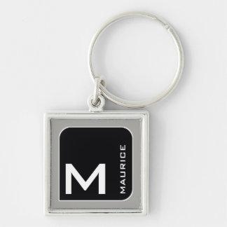 for him a modern blk. logo monogram keychain