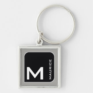 for him a modern blk. logo monogram Silver-Colored square keychain