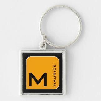 for him a modern yellow square logo monogram keychain