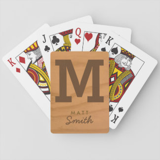 for him a stylish monogram on faux wood poker deck