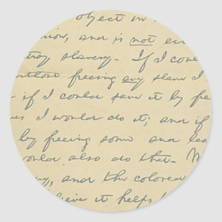 For History Buffs: Lincoln's Letter to Greeley Round Sticker