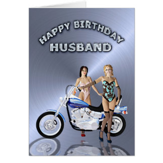 For husband, birthday with girls and a motorcycle greeting card