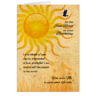 for Husband's Birthday Romantic Sun Rise Card