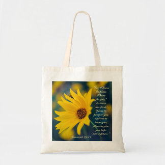 For I Know the Plans I Have, Bible Verse, Flower Budget Tote Bag