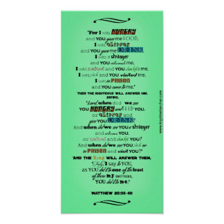 For I Was Hungry Jesus Quotes 10x20 In Mint Poster
