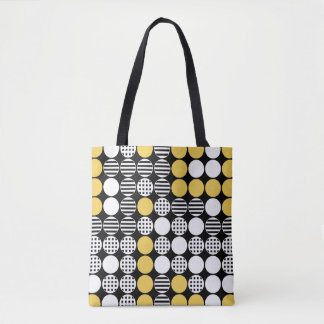 For In A Row - Dot Design - Black, White, Yellow Tote Bag