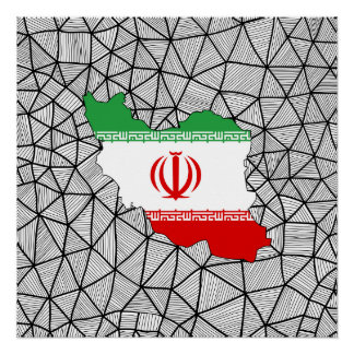 For Kids: Creative Iran Flag With Map Perfect Poster