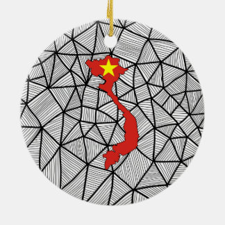 For Kids: Creative Vietnam Flag With Map Round Ceramic Ornament