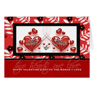 For Lesbian Partner on Valentine s Day Red Hearts Greeting Card