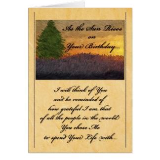 for Life Partner - Birthday Romantic Sunset Card