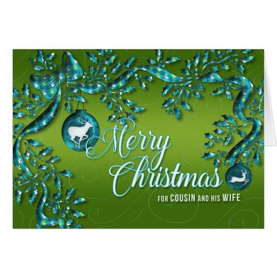 for Male Cousin and His Wife Green and Turquoise Card