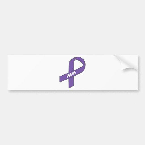 For Me (Purple Ribbon) Bumper Stickers