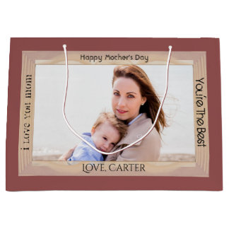 For Mom w/Photo Mother's Day or Birthday Large Gift Bag