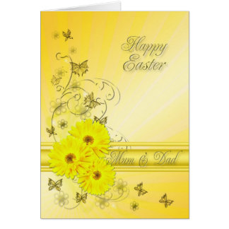 For Mum & Dad, Easter card with yellow flowers