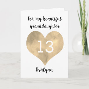 For My Granddaughter 13th Birthday Card