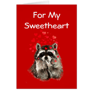 For My Sweetheart Raccoon Kisses Valentine Card