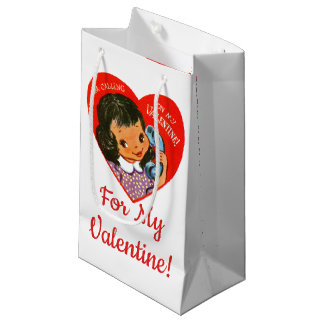 """For My Valentine!"" Retro Valentines Girl/Heart Small Gift Bag"