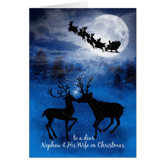 for Nephew and Wife Kissing Reindeer Christmas Card