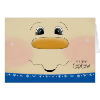 For Nephew Christmas Happy Snowman Face Card