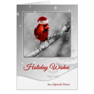 for Niece on Christmas Red Cardinal Bird Card