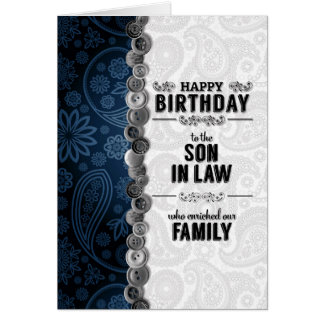 For Our Son-in-Law on his Birthday Blue Paisley Card
