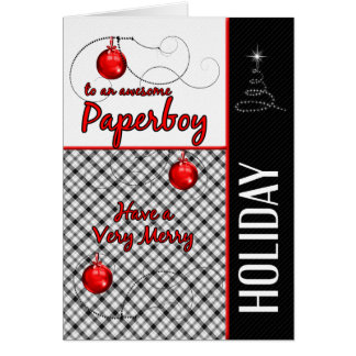 for Paperboy | Red and Black Plaid | Holiday Card