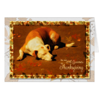for Pet Groomer on Thanksgiving | Cute Autumn Dog Greeting Card
