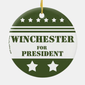 For President Winchester Round Ceramic Ornament