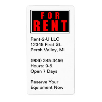 For Rent Business Sticker Equipment Renting Labels