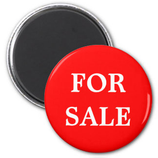 For Sale Realtor or Retail Sign Marker Red White 2 Inch Round Magnet