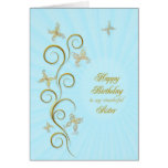 For sister, Birthday with golden butterflies Greeting Card