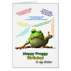 For sister, Lots of Froggy Jokes Birthday Card