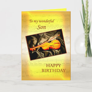 For Son A Musical Birthday Card With Violin