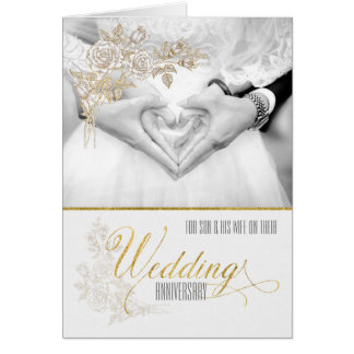 for Son and his Wife Wedding Anniversary Greeting Card