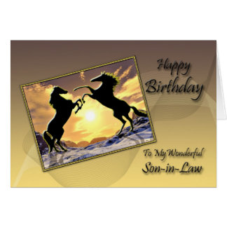 For son-in-law, Birthday card with rearing horses