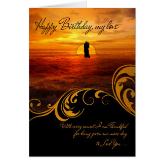 for Sweetheart's Birthday Lovers Kissing at Sunset Card