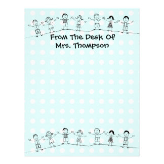 For Teacher Blue, Any Color Letterhead Stationery