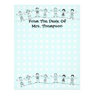 For Teacher Blue, Any Color Letterhead Stationery