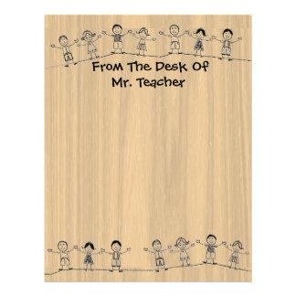 For Teacher Cute School Kids Letterhead Stationery