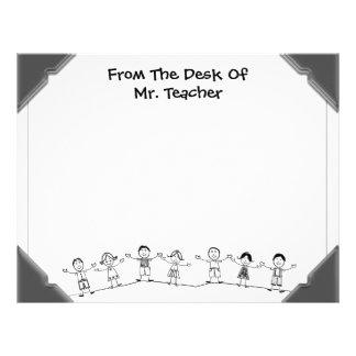 For Teacher, Illustrated Kids Desktop Letterhead