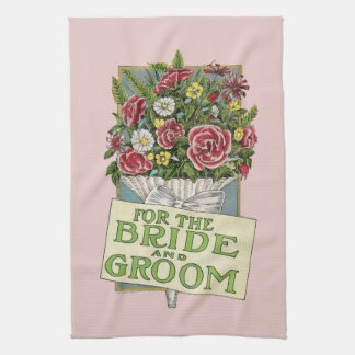 For the Bride and Groom Pink Vintage-Style Flowers Kitchen Towel
