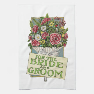 For the Bride and Groom, Vintage-Style Flowers Kitchen Towel