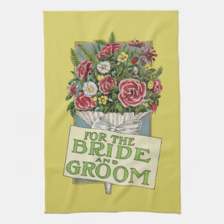 For the Bride & Groom Yellow Vintage-Style Flowers Kitchen Towel